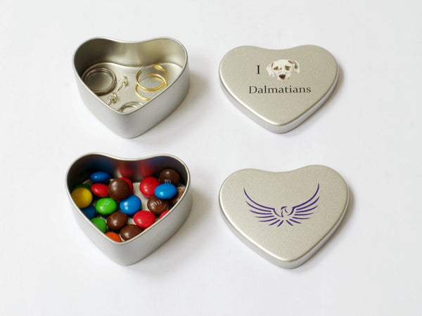 25 x Luxury School Silver Metal Heart Box with Crest or Logo (£1.75 per box + VAT)