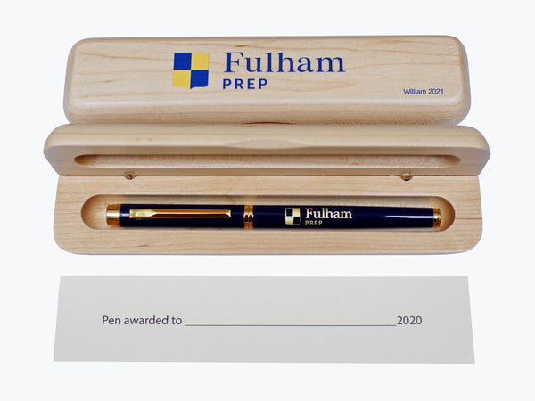 50 x Luxury Engraved Blue Pen | 50 x Personalised Maple Pen Case (from £9 per pen&case + VAT)