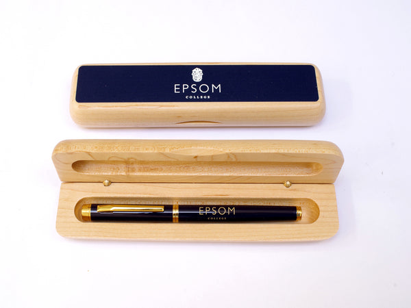 25 x Luxury Personalised Maple Pen Case with your Crest| Logo|Colour Top (from £7 per case + VAT)