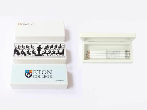 25 x Personalised Luxury White School Memory Wooden Medium Pencil Case (£21 per case+ VAT)