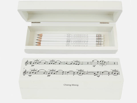 Personalised White Music Notes Wooden Large Pencil Case  (from £ 21 per case + VAT)