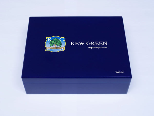 Personalised blue A4-sized Kew Green School Memory Wood Box - A4 box