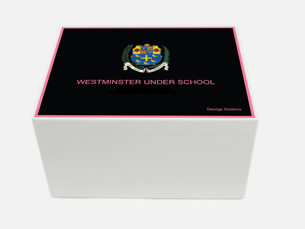 Westminster School Memory Wood Box - A4 Chest - Pink border  - Personalised