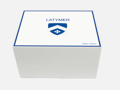 Latymer Upper School Memory Wood Box - A4 Chest - White - Personalised