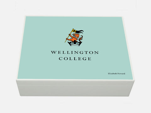 Wellington College School Memory Wood Box - A4 Box - Blue top - Personalised