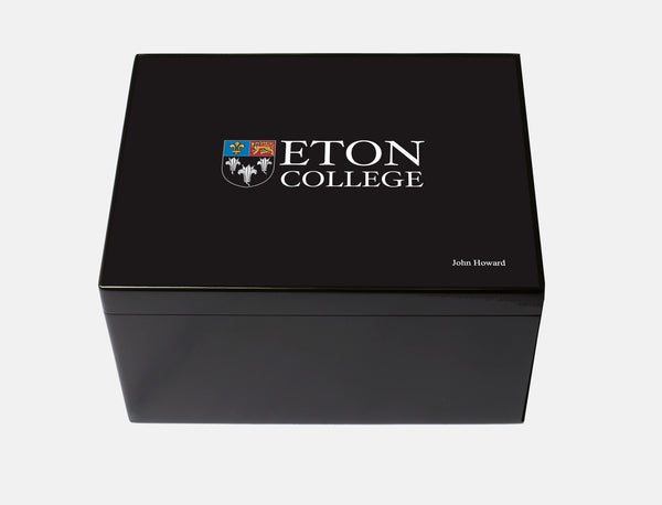 Personalised Eton College School Memory Wood Box - A4 Chest -  Black