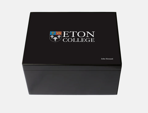 Eton College School Memory Wood Box - A4 Chest -  Black - Personalised