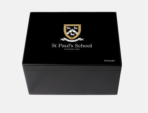 St Paul's School Memory Wood Box - A4 Chest - Black - Personalised