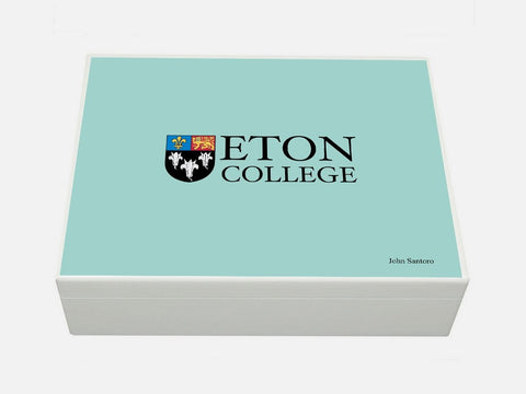 Personalised Eton College School Memory Wood box - A4 Eton Blue