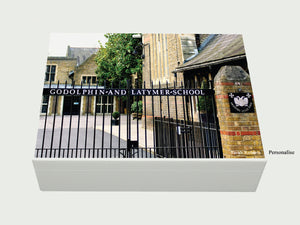 Godolphin & Latymer School Memory Wood box - A4 Box - Photo top- Personalised