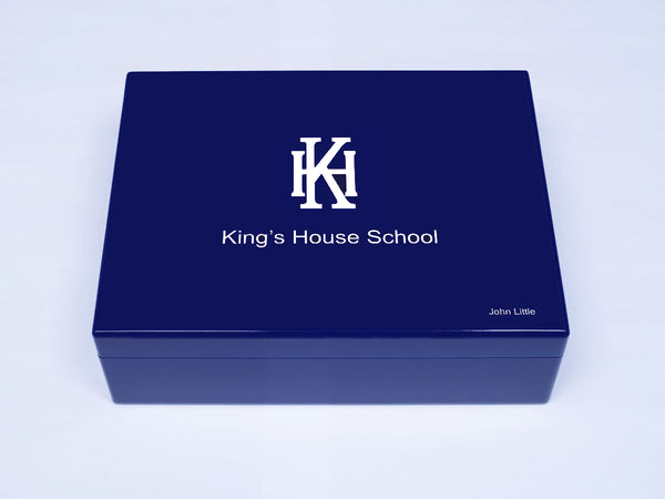King's House School Memory Wood Box - A4 Box - Royal blue top - Personalised