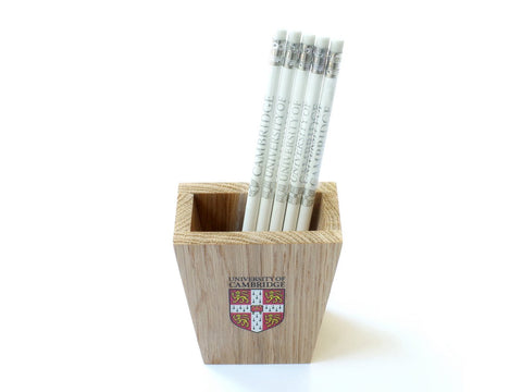 Official University of Cambridge Oak Pen Pot with Colour Crest
