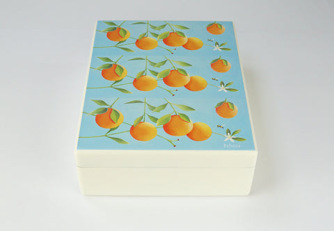 Luxury wooden box file with oranges artwork