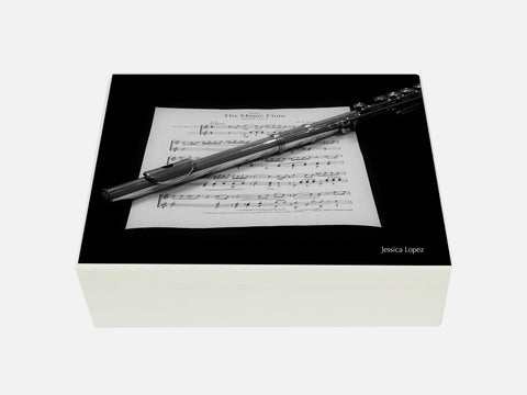 Personalised luxury wooden box file with flute images
