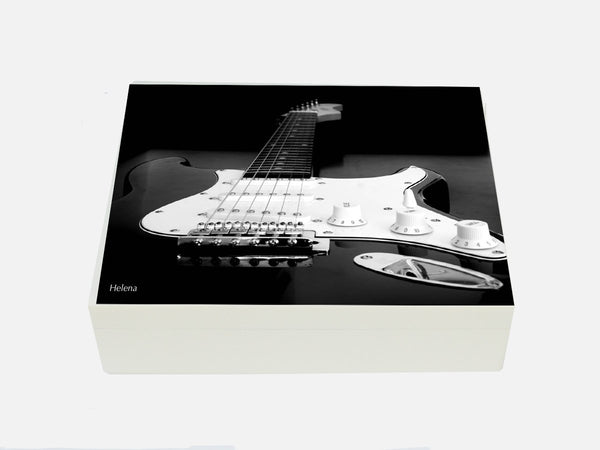 Personalised luxury box file with guitar image