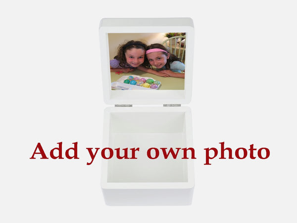 Your Own Photo on a beautiful white small wooden box 12.5 x 12.5 x 10 cm