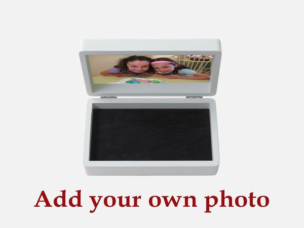 Your Own Photo on a beautiful white wooden Jewellery Box 19.8 x 11.6 x 6.3 cm