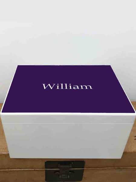 Extra Large a4 size colour top white wooden chest  | Personalise with initials or a name and your photo on the inside lid 335 x 260 x 180 mm