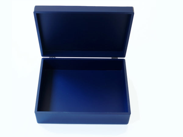 luxury royal blue wooden box file open