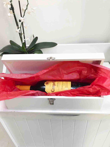 Birthday Personalised Luxury satin white  wooden wine gift box 350x110x100mm
