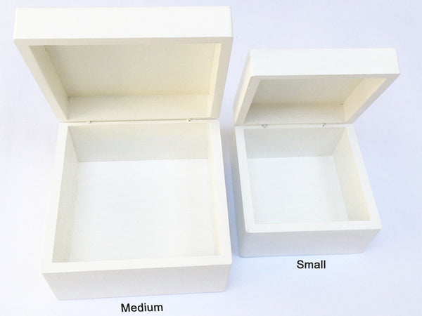 YOUR ARTWORK  on a Standard White Small or Medium Wooden Gift Box - Limited Supply