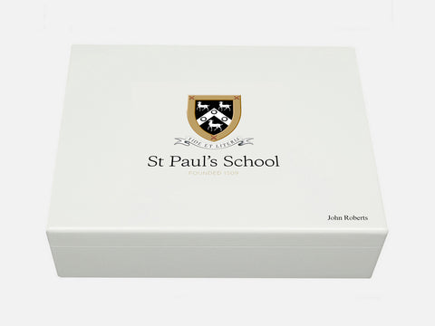 St Paul's School Memory Wood box - A4 Box - White - Personalised