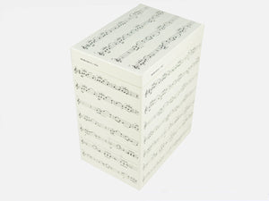 Tall box file with music notes