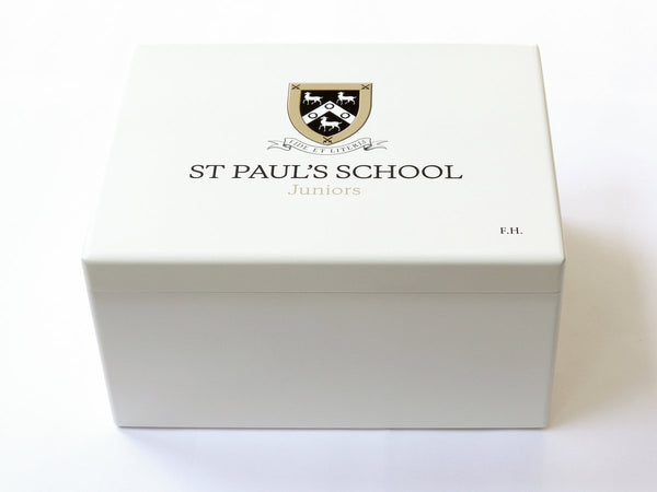 Design your Personalised Luxury White School Memory Wood Box  - with or without border - A4 Chest