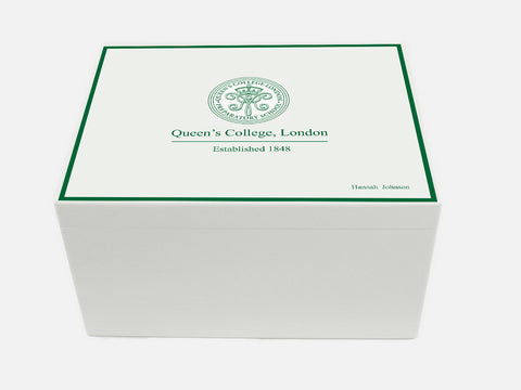 Queen's College Preparatory School Memory Wood Box - A4 Chest -  Personalised