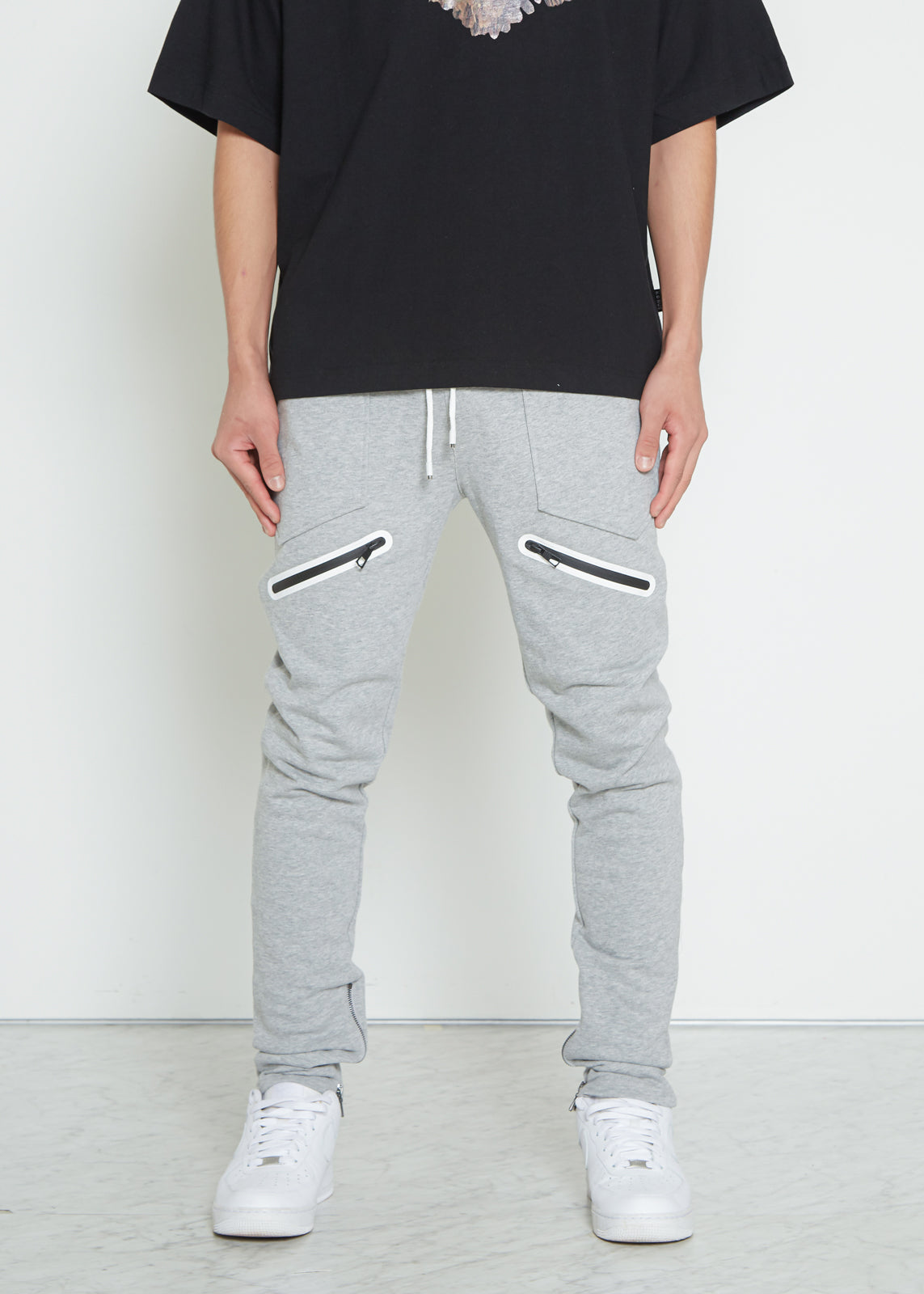 Konus Men's Heather Grey French Terry Sweatpants w/ Zipper Pockets - Shop at Konus