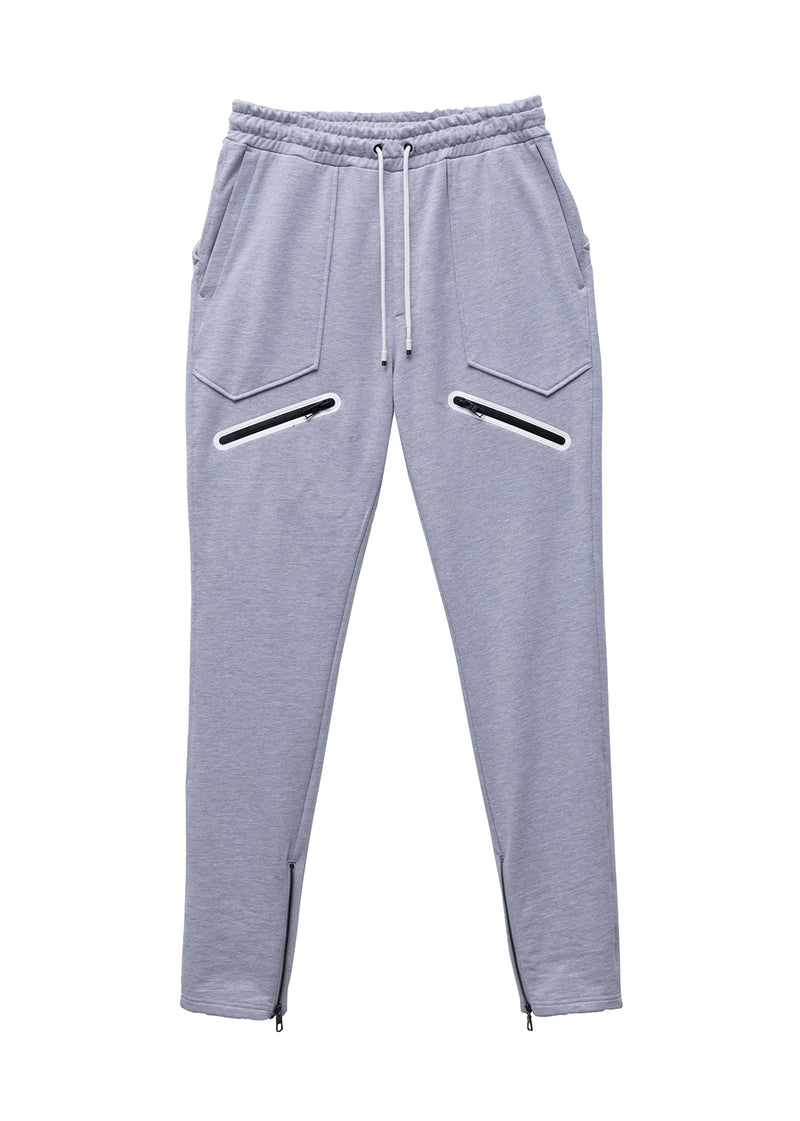 Konus Men's Heather Grey French Terry Sweatpants with Zipper Pockets