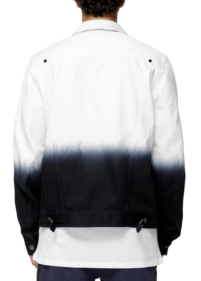 Konus Men's White Twill Trucker Jacket With Dip Dye Ombre  in White - SEO Optimizer Test