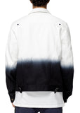 Konus Men's White Twill Trucker Jacket With Dip Dye Ombre  in White - Shop at Konus