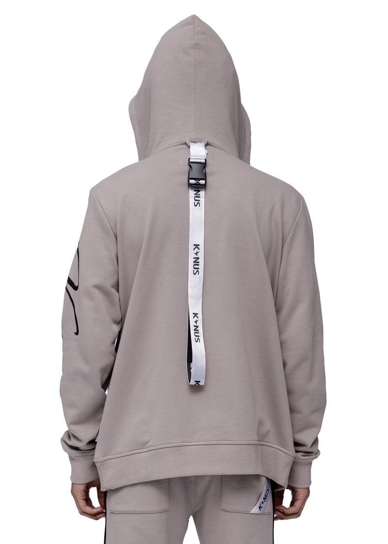 Konus Men's Mock Neck Zip Up Hoodie w/ Zipper Pockets In Grey - Shop at Konus