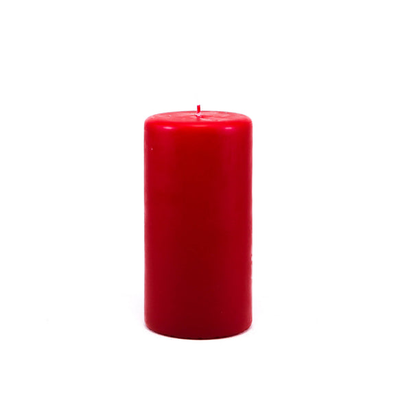 Powderpressed candle ⌀ 7x14 cm,  red