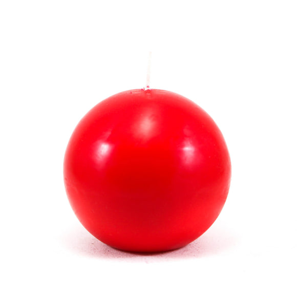 Powderpressed candle ball, ⌀ 10 cm, red