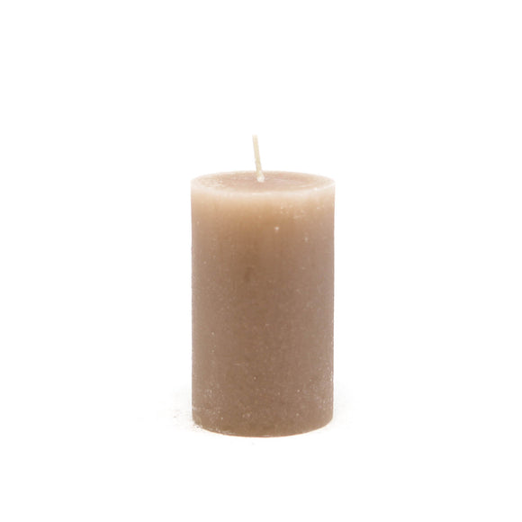 Candle cylinder ⌀ 6x10 cm, light brown (linen)