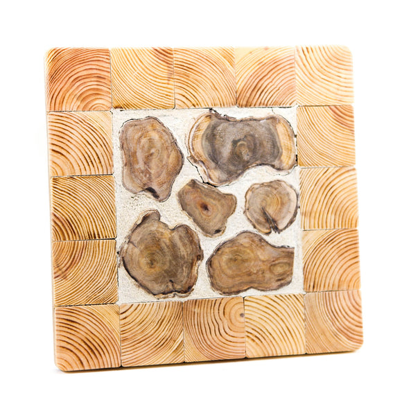 Wooden candle pad with cement, square 22.5 x 22.5 x 2 cm