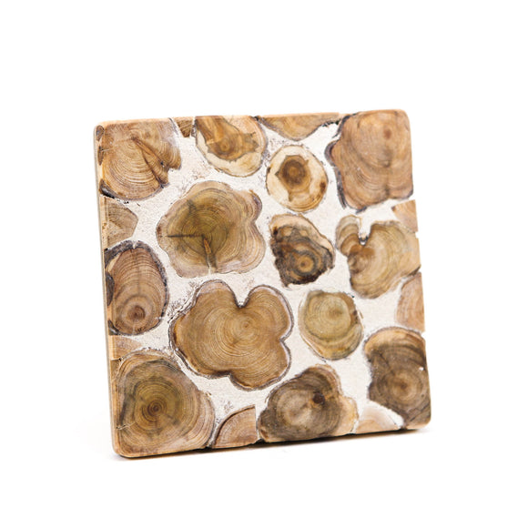 Wooden candle pad with cement, square borderless 15 x 15 x 2 cm