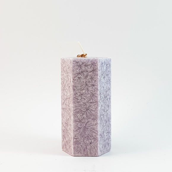 Crystal stearin candle ⌀ 5x10 cm, light purple