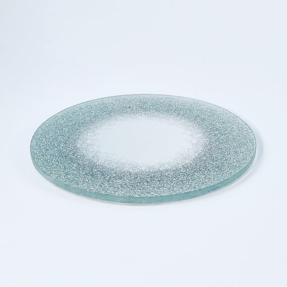 Glass candle pad, mirror surface and silver edge, ⌀ 10 cm