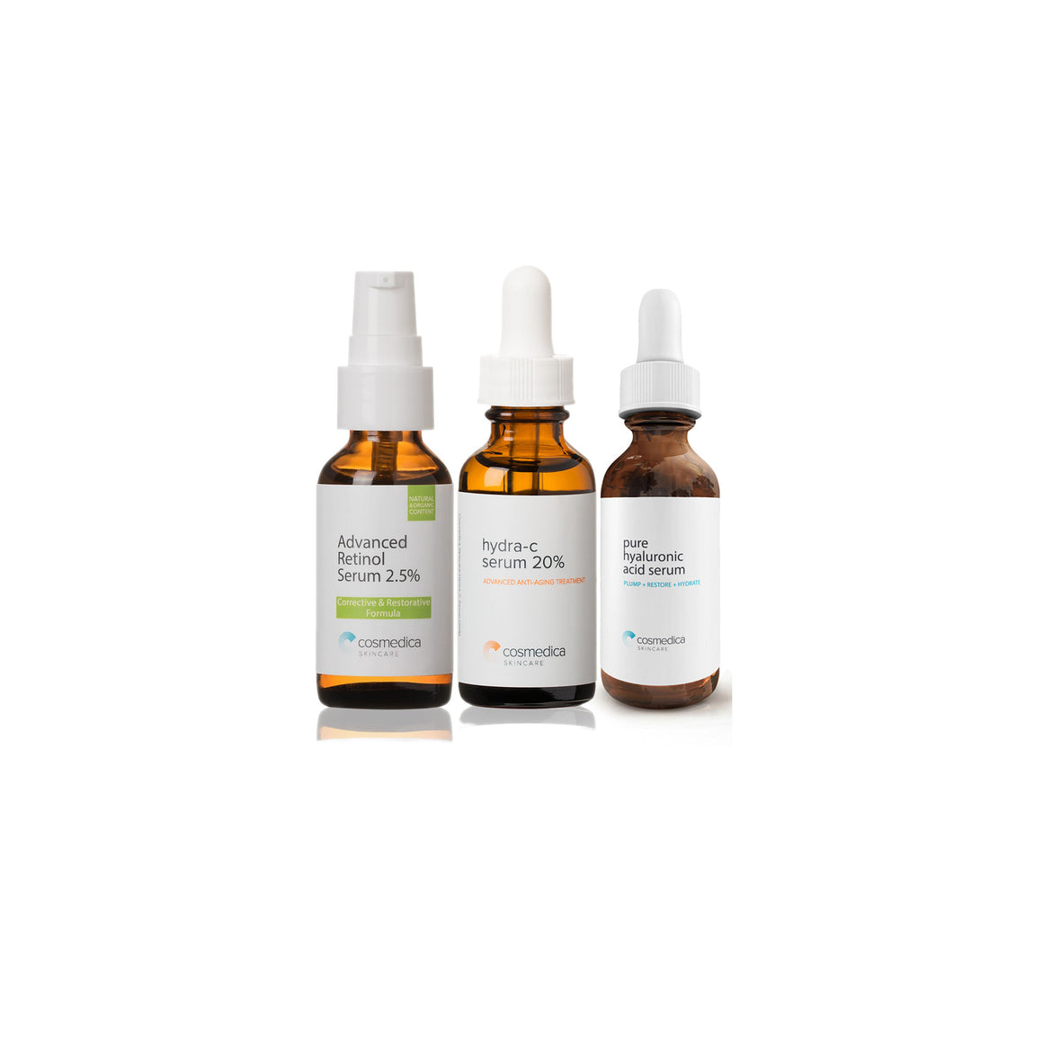 Vitamin C Serum 20% Retinol Serum 2.5% Hyaluronic Acid Serum Combo Set