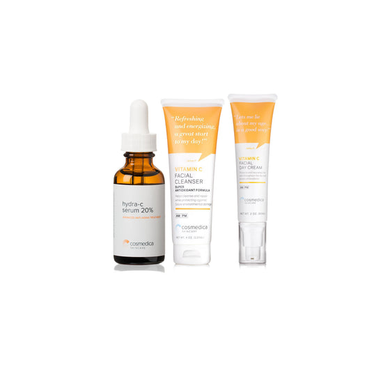 Vitamin C Face Wash, 20% Vitamin C Serum, 15% Vitamin C Facial Day/Night Cream Set