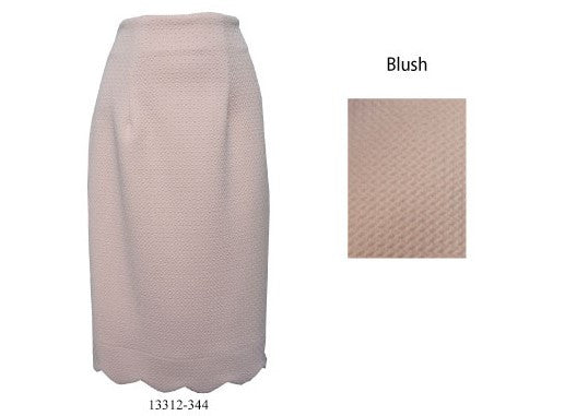 Jody 13312 Stretch Scalloped Hem Pencil Skirt