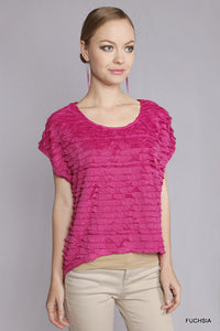 A7132 Umgee Ruffle High Low Tee
