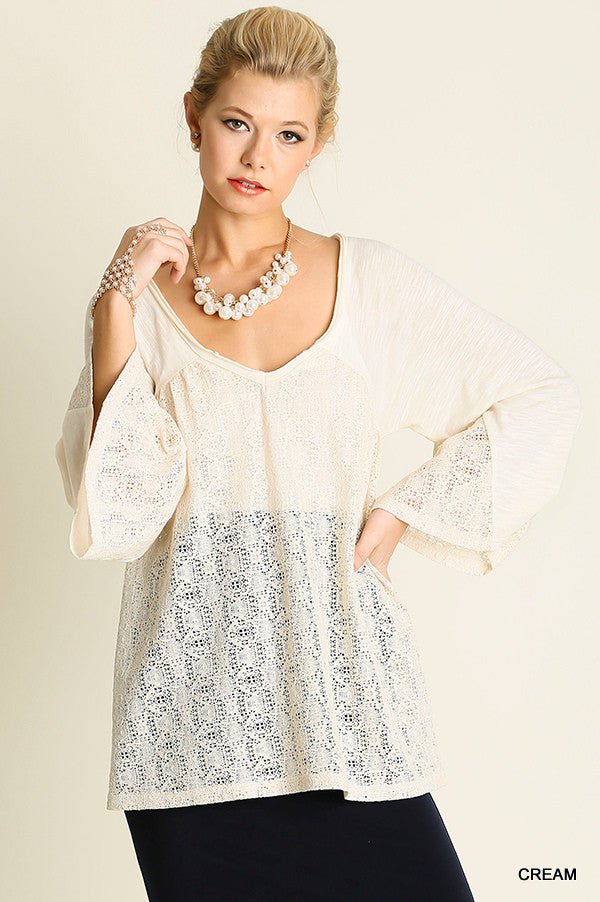 Umgee H2143 V Neck Top with Lace Details