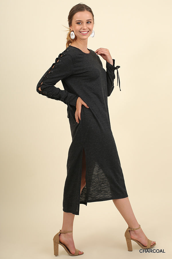 Umgee R7901 Maxi Dress with Side Slits and Drawstring Sleeves