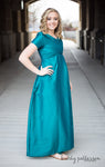 RC 0815LF Full Length Jade Taffeta Gown