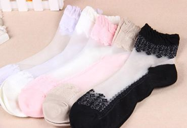 Women Socks Girls Ultra thin Transparent Beautiful Crystal Lace Elastic Short Socks Breathable soft and well protect the feet all day long. Lace frilly ankle socks, lovely and attractive. Easy to fit with many kinds of shoes such as sports shoes, high-heeled shoes, leather shoes, canvas shoes etc. Soft and comfortable vintage lace socks, so sweet and ladylike High quality cotton bottom, crystal silk breathable surface