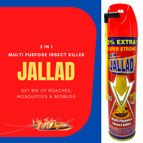 JALLAD SPRAY Multi Purpose Insect Killer Destroys Cockroaches BedBugs & Mosquitoes Super Power Formula Pest Control (224 ml)